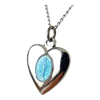 Sterling Silver & Enamel Miraculous Medal Heart Pendant Necklace, Blue Enamel Holy Mary, Sterling Chain