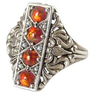 Edwardian Style Sterling Silver Mexican Fire Opal Ring with Seed Pearls