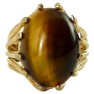 Sterling Silver, Gold-Plated Tiger's Eye Cabochon Ring, ESPO 1960's NOS