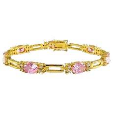 Sterling Silver & Gold Vermeil Line Eternity Bracelet with Bright Pink Oval CZs