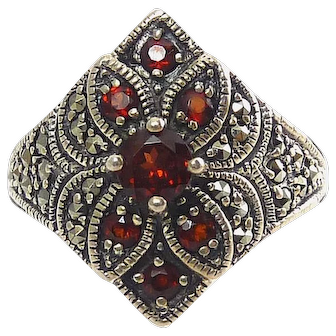 Red Garnet, Marcasite Pave' and Sterling Silver Ring, Diamond Shape
