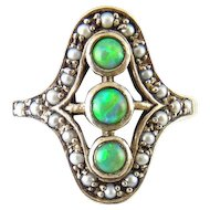 Edwardian Style Sterling Silver, Green Opal  & Seed Pearl Ring