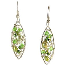 Sterling Silver, Green & White Pearls, Peridot Crystal Hand-Woven Drop Earrings - Marquise Shape