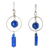 Sterling Silver & Lapis Lazuli Hoop Earrings with Dangling Balls & Bar Charms