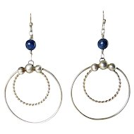 Hand-Crafted Sterling Silver Double Hoop Earrings with Lapis Beads, Pierced Hoops