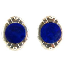 Blue Lapis & Sterling Silver Modern Round Clip-On Earrings