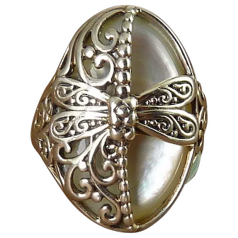Sterling Silver & Mother of Pearl Dragonfly Ring, Made in Bali
