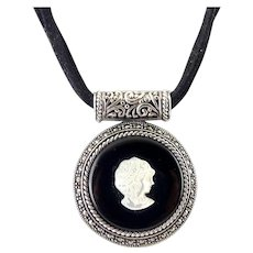 Sterling Silver Mother of Pearl Cameo Enhancer Pendant with Marcasites, Multi Cords Necklace