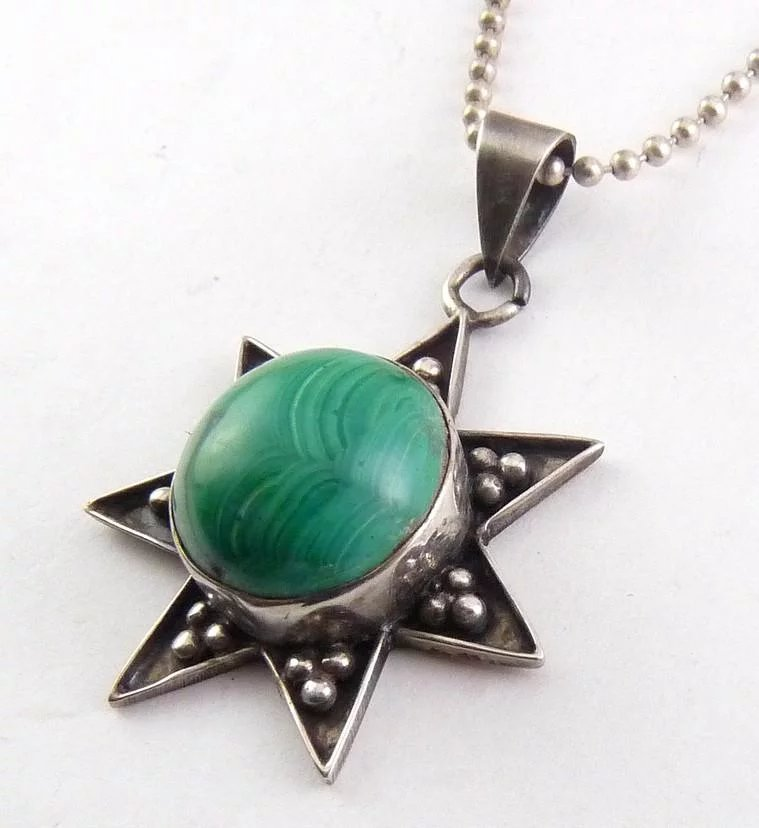 Sterling silver malachite 7 point star pendant necklace heptagram click to expand aloadofball Gallery