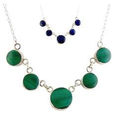 Sterling .980 Silver Reversible Necklace - Green Malachite & Blue Lapis Circle Drops