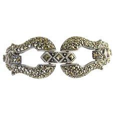 Fancy Sterling Silver & Marcasite Bracelet, Ornamental Front Clasp, Wide Jeweled Links