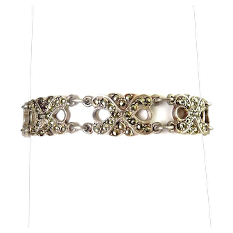 Sterling Silver Art Deco X-Links Bracelet, New/Old Stock
