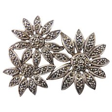 Sterling Silver & Marcasites 3 Daisies Flower Bouquet Pin