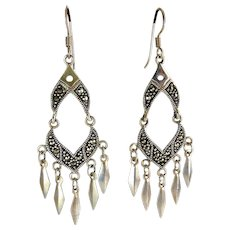 Sterling Silver & Marcasites Articulated Eastern Style Earrings with Spear Drops, Pierced