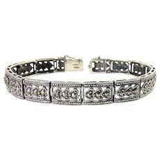 Sterling & Marcasites Heart Links Bracelet, 7 1/2 Inches