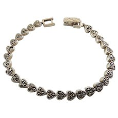 "Sterling Silver & Marcasite Heart Links Bracelet, 7 1/4"" Long"