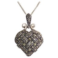 Sterling Silver & Marcasite Basket Weave Heart Pendant -Sterling Necklace, Square & Round Stones