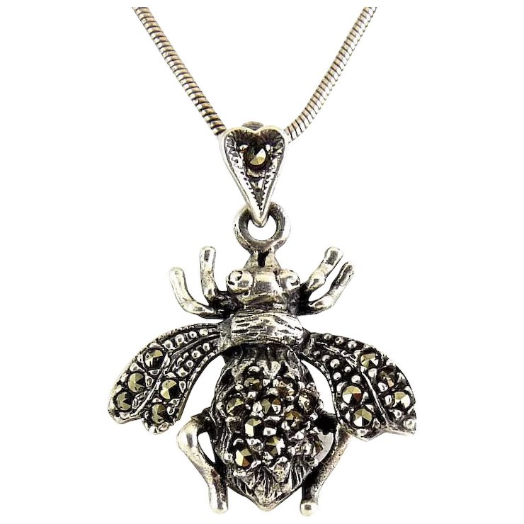 Sterling silver marcasites honey bee pendant moving wings 18 sterling silver marcasites honey bee pendant moving wings 18 inch long necklace aloadofball Images