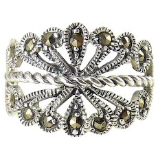 Sterling Silver & Marcasite Curling Plume Feather Band Ring
