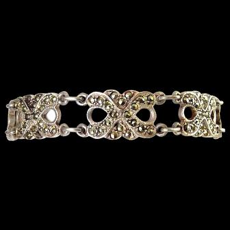 Sterling Silver & Marcasites X-Links Bracelet