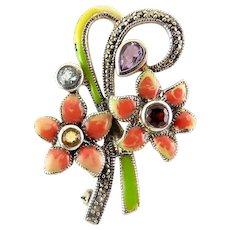 Sterling Silver, Enamel, Gems & Marcasites Flower Bouquet Pin - 1930's Deco Style