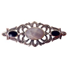 Sterling Silver, Marcasite, Onyx and Mother of Pearl Bar Pin, Fancy Pierced Design, Victorian Style