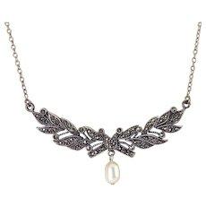 Sterling Silver, Marcasites & Faux Pearl Leafy Bough Centerpiece Pendant Necklace