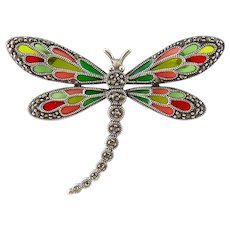 Sterling Silver & Plique A Jour Enamel Dragonfly Pin with Marcasites, Art Nouveau Style