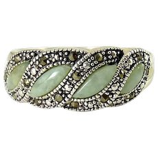 Sterling Silver, Nephrite Jade & Marcasites Band Ring,