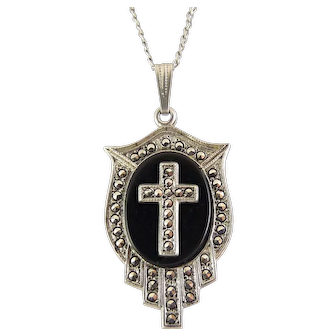 Sterling Silver Art Deco Marcasite Cross on Onyx Pendant Necklace