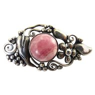 Arts &  Crafts Style Sterling Silver & Pink Rhodochrosite Pin