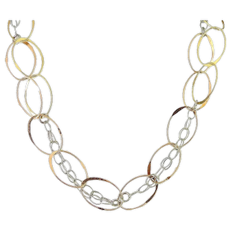 Long Sterling Silver Tricolor Necklace Chain, Large Oval Rings, 33 Inches Rose & Yellow Gold Finish