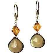 Smoky Quartz Briolettes & Topaz Crystal Bicone Drop Earrings, Sterling Silver Wires