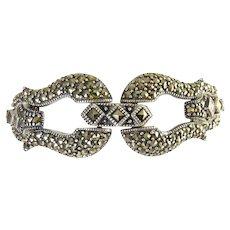 Dazzling Sterling Silver & Marcasite Horseshoe Clasps Bracelet, Square & Round Stones