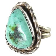 Native American Sterling Silver & Turquoise Triangle Ring, Hand Engraved ,Signed