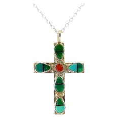 Native American Sterling Silver Cross Pendant with Turquoise & Coral Inlay, Sterling Necklace