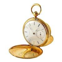 Auguste Saltzman 18K Gold Antique ca 1865 Full Hunters Case Pocket Watch, Works, Fine Condition