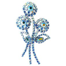 Dazzling Sapphire Blue AB Rhinestones Mod Flowers Brooch Pin, Exc. Cond.