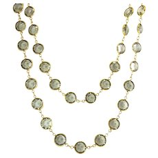 1980's Swarovski SAVVY Light Smoke Gray Bezel Set Crystals Necklace, 36 Inches, Collet Set