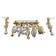 Ocean Theme Bar Pin & Earrings- Real Pearl & Rhinestone Pave' Starfish, Lobster, Shell, Seahorse & Turtle