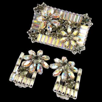 SHERMAN AB & Gray Rhinestones Shadow Box Floral Brooch Pin & Earrings