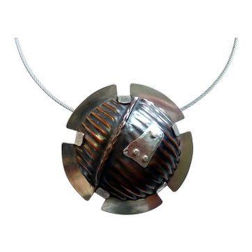 Upcycled Mixed Metals Domed Copper & Silver Pendant on Cable Necklace, Modernist, Reclaimed