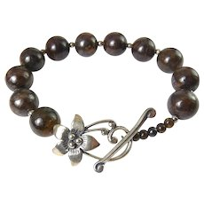 Silpada Bronzite & Sterling Silver Beads with Flower Toggle Clasp