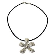 Silpada Dimpled Daisy Flower Pendant on Black Leather Cord
