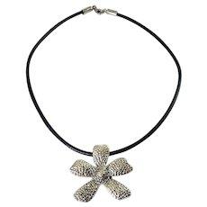 Silpada Dimpled Daisy Flower Pendant on Black Leather Cord