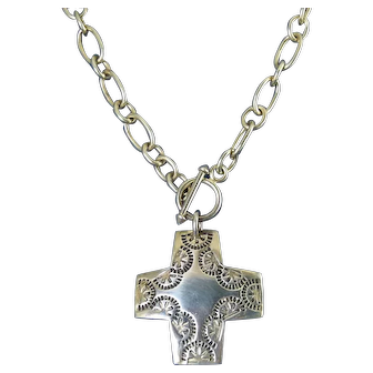 Silpada Sterling Silver Native American Style Cross on Neck Chain with Toggle Closure