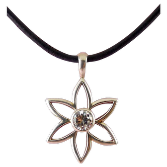 Silpada Sterling Silver Open Daisy Flower with CZ Center Pendant on Black Leather Cord