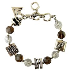 Silpada Sterling Silver, Crystal Quartz & Smoky Quartz Mixed Beads Bracelet, Logo Charm, Toggle Clasp