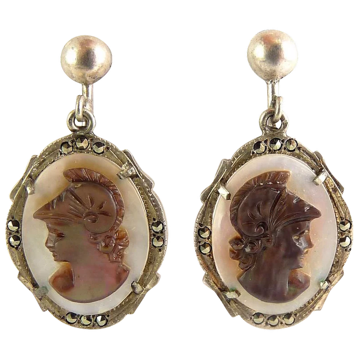 aadaad3680fda Carved Abalone Cameo Roman Soldier Cameo Earrings in .800 Silver with  Marcasites
