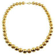 Simmons 12K Gold-Filled Beads Necklace, Two Textures, 15 1/2 Inches